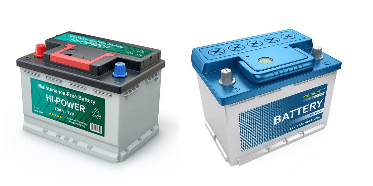 two batteries with labels