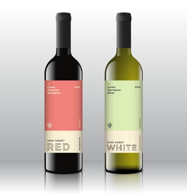 red and white wine label